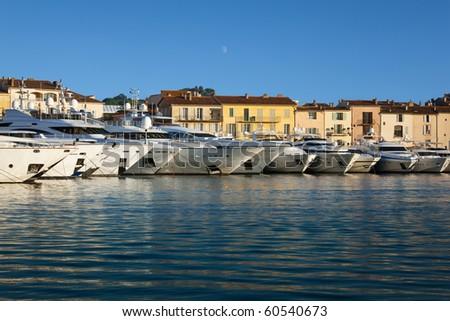 Yachts moored at Saint Tropez. - stock photo