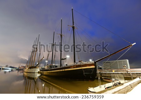Yachts moored in Helsinki in the winter, Finland/Yachts moored in Helsinki/Yachts moored in Helsinki, Finland - stock photo