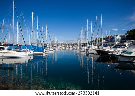 Yachts moored in the harbor on the Adriatic Sea, Rovinj, Croatia  - stock photo