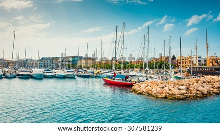 yachts on pier of Ta`Xbiex near Valletta in Malta - stock photo