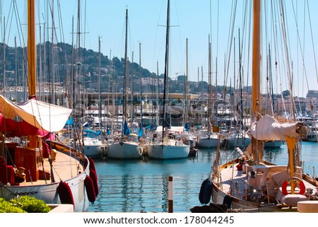 Yachts on the coast of Cannes, France - stock photo