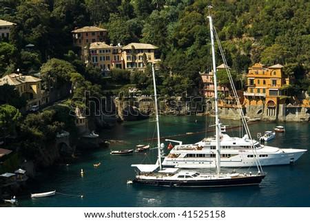 yachts on the coast of the Ligurian Sea - stock photo