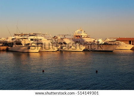 Yachts  on the Red Sea in Hurghada, Egypt at sunset