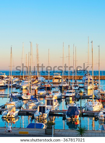 Yachts, sail boats and motorboats in marina of Cascais, Portugal - stock photo