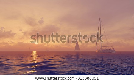 Yachts silhouettes in the calm ocean and sun rising from behind the clouds. Realistic 3D illustration was done from my own 3D rendering file. - stock photo