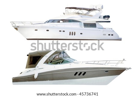 yachts under the white background