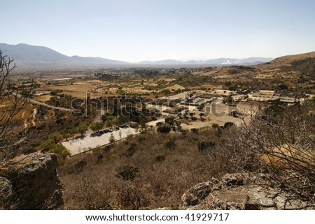 Yagul burrial site and overview of the surrounding landscape. Yagul is an archaeological site and former city-state associated with Zapotec civilization of pre-Columbian Mesoamerica. Oaxaca, Mexico