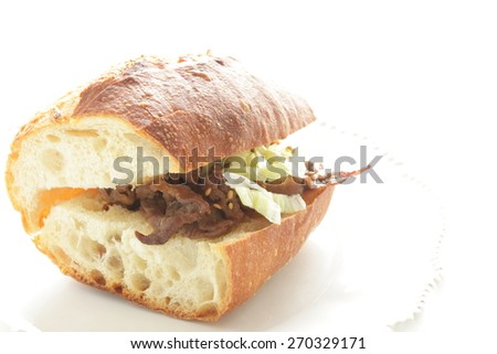 Yakiniku Grilled beef and cabbage Sandwich for fusion food image - stock photo