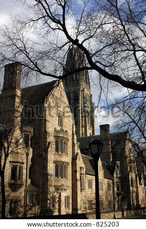 Yale buildings in Winter sunlight - stock photo