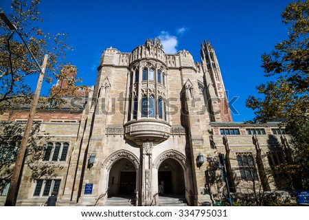 Yale Law School buildings in autumn with blue sky in New Haven, CT USA - stock photo