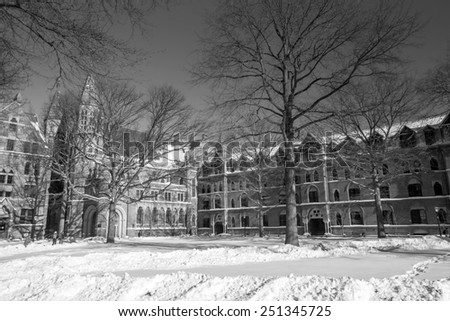 Yale university buildings in winter after snow storm Linus in New Haven, CT USA in black and white