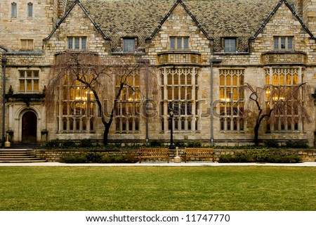 Yale University campus at evening, New Haven, Connecticut - stock photo