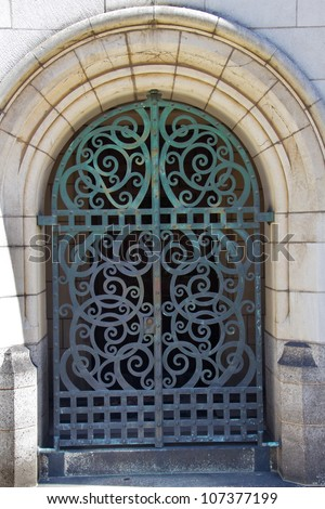 Yale University Doorway, Old Iron Gate, New Haven Connecticut - stock photo