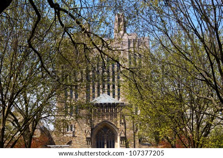 Yale University Sterling Memorial Library Leaves New Haven Connecticut Fifth largest library in the United States - stock photo