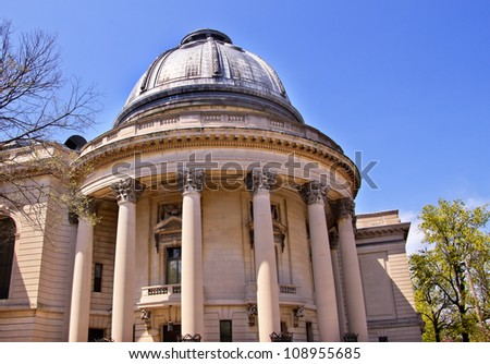 Yale University Woolsey Hall School of Music Building Dome Ornate Victorian Towers New Haven Connecticut - stock photo