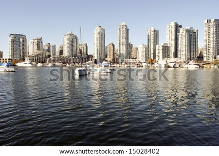 Yaletown and False Creek from Granville Island wide - stock photo