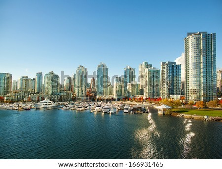 Yaletown marina in Vancouver - stock photo