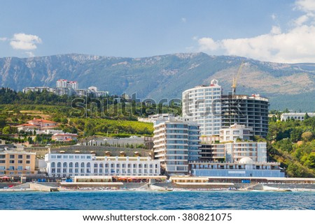 Yalta, Crimea, Russia, September 3, 2015. Waterfront Black Sea city of Yalta in Crimea