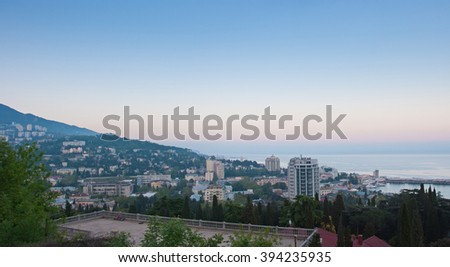 Yalta in the evening, Crimea. Ukraine or Russia