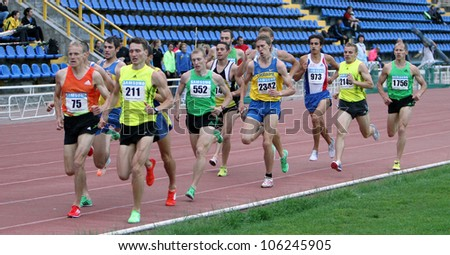 YALTA, UKRAINE - MAY 28: Unidentified men at 1500 meters race on Ukrainian Cup in Athletics on May 28, 2012 in Yalta, Ukraine. - stock photo