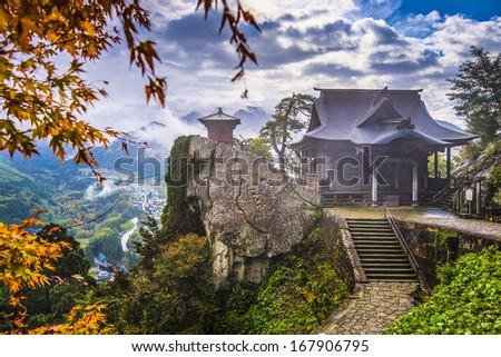 Yamadera Mountain Temple in Yamagata, Japan. - stock photo