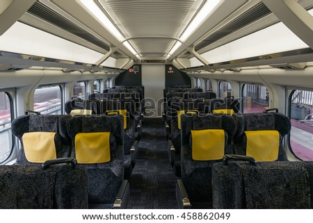 YAMAGATA,JAPAN - APRIL 17,2016: Ordinary reserved seats of Toreiyu Tsubasa, The first ever sightseeing high-speed train. This train is operated by JR East in Fukushima - Shinjo route.