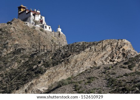 Yambulagang Monastery high in the Himalayas in the Tibet Autonomous region of China