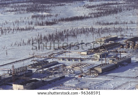 YAMBURG, RUSSIA, - FEBRUARY 17: Storage tanks at a Gazprom owned and operated natural gas field in Siberia on February 17, 2004 in Yamberg, Russia.