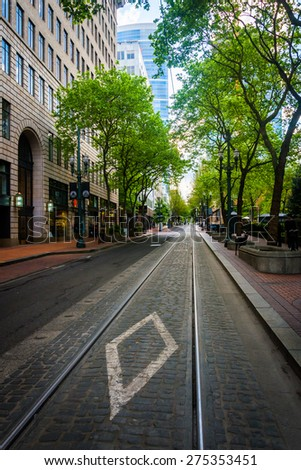 Yamhill Street, in Portland, Oregon. - stock photo