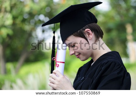 Yang and pretty female student thinking. - stock photo