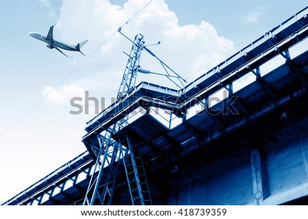 Yang took the high-speed train viaduct, blue tone image. - stock photo