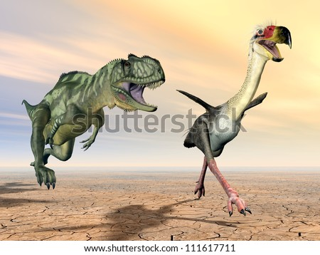 Yangchuanosaurus and Phorusrhacos Computer generated 3D illustration - stock photo