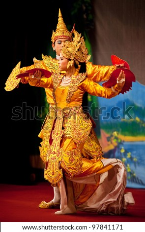 YANGON, MYANMAR - JANUARY 25: Two unidentified dancers perform traditional classical 'Dance of the Mythical Bird Couple' in honor of Karen New Year on January 25, 2011 in Yangon, Myanmar