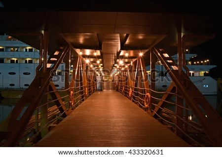 Yangon, Myanmar - March 13 : 2015. nighttime at gangplank Vintage Luxury Yacht Hotel, Yangon,Myanmar.