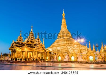 Yangon, Myanmar view of Shwedagon Pagoda at dusk. - stock photo