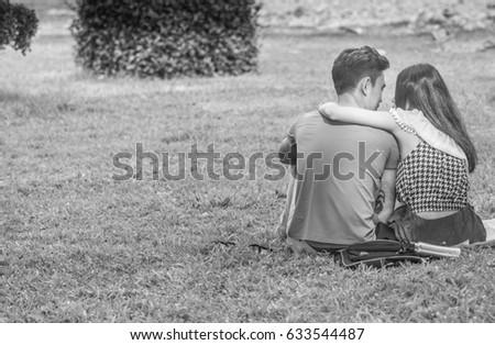 Myanmar couple in park
