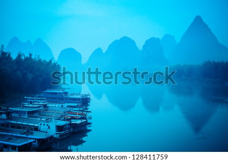 yangshuo scenery in silence of the early morning,guilin,China - stock photo