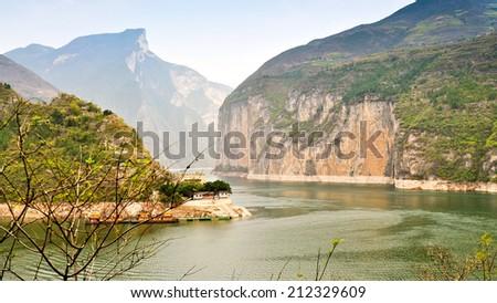 Yangtze River Wends Its Way Through The Qutang Gorge - Baidicheng, Chongqing, China - stock photo
