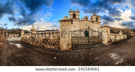 Yanque, Arequipa, Peru: View of the church in the town - stock photo