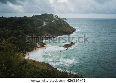 Yanui Beach is a quiet little cove located between Nai Harn Beach and Promthep Cape.  Storm view - stock photo