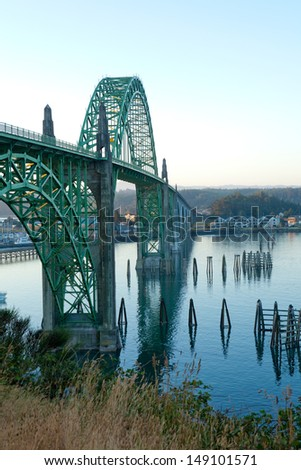 Yaquina Bay Bridge at sunrise in Newport, Oregon.  - stock photo
