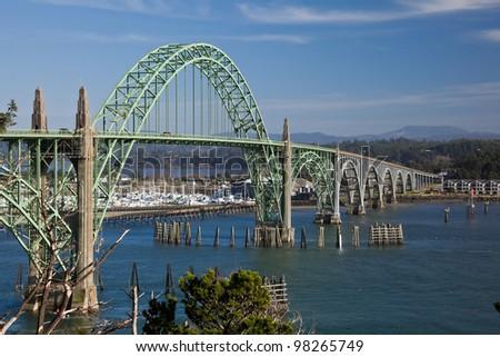 Yaquina Bay Bridge, 1936, Newport, Oregon Coast, Oregon U.S.A. - stock photo