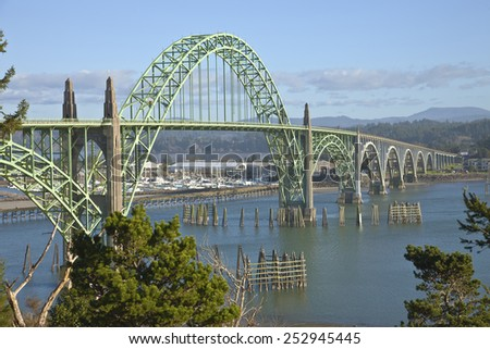 Yaquina Bay Bridge panorama Newport Oregon. - stock photo