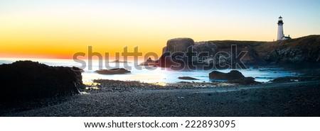Yaquina head Light House Seascape Panorama Sunset, Oregon State USA - stock photo