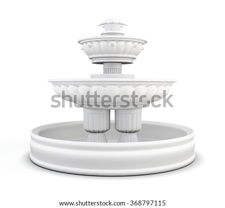 Yard fountain isolated on white background. 3d rendering. - stock photo