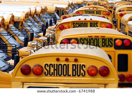 Yard full of parked yellow school buses.