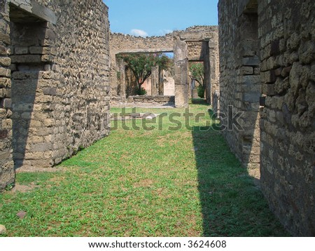yard in ancient roman town Pompeii - stock photo