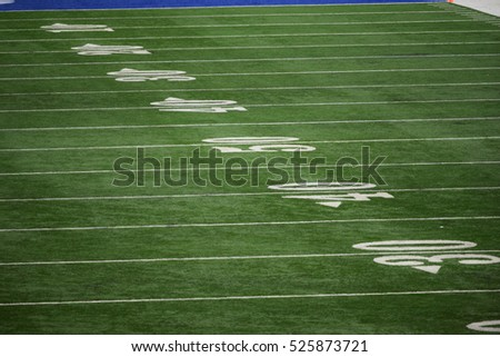 Yard line markers on a football field
