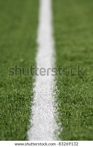 Yard Line of a American Football Field with Shallow Depth of Field - stock photo