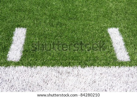 Yard Lines or Hashmarks of a American Football Field with room for copy - stock photo